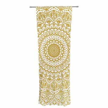 "Nika Martinez ""Gold Mandala"" Gold White Illustration Decorative Sheer Curtain"