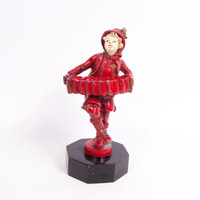 Antique German Cast Metal Boy Playing Squeeze Box Red Paint German Statue Man with Accordion