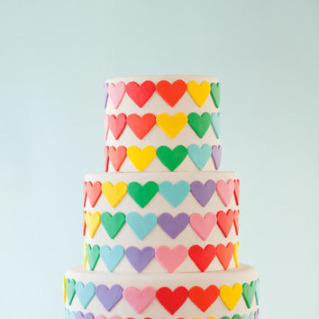 Fondant Rainbow Hearts for 6-inch Round Cake, Cake or Cupcake Decoration