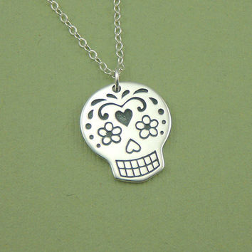 Large Sugar Skull Necklace, sterling silver Day of the Dead necklace