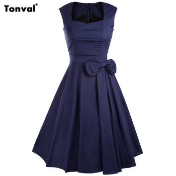 Tonval 2016 Women Bow Vintage Dress Summer Sexy Evening Retro Party Elegant Cotton Black Rockabilly 1950s Swing Dresses