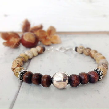 Mens bead bracelet, natural stone bracelet, male jewelry, rustic bracelet, natural colours, brown bracelet