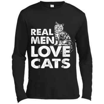 Real Men Love Cats  Gift Dad Daddy Grandpa Mom Long Sleeve Moisture Absorbing Shirt