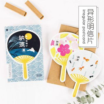 30 pcs/lot Cute Japanese fans postcard novelty heteromorphism greeting card christmas card birthday message card gift cards