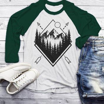 Men's Forest Hipster T-Shirt Nature Shirt Mountains Trees Stars Camping Tees 3/4 Sleeve Raglan