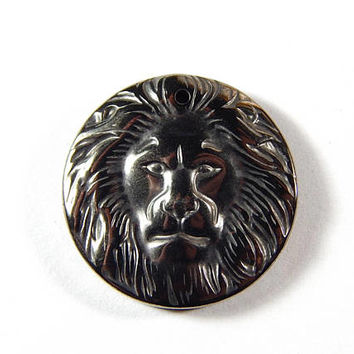 1 Pc - 25x5mm Hematite Lion Head Pendant - Gemstone Pendant - Jewelry Supplies - Craft Supplies