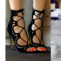 Hot Sale Women Pumps Lace Up Strappy Open Toe High Heels Hollow Out Ankle Sandel