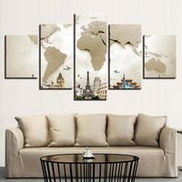 World Map with Landmarks Canvas