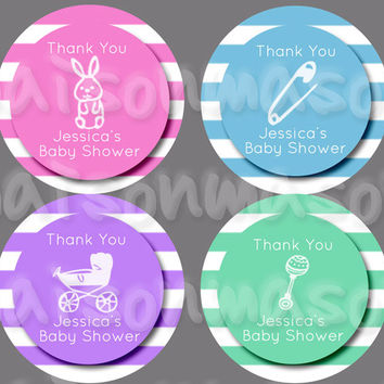 Baby Shower Round Labels - Mason Jar Stickers