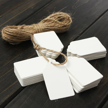 100pcs Kraft Paper Gift Tags Card Wedding White Scallop Label Blank Luggage Mini Paper Card With Strings 3x5cm