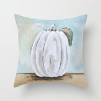 Tall white pumpkin for Fall Throw Pillow by Jennifer Rizzo Design Company