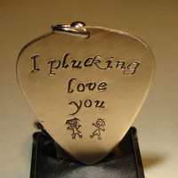 Bronze guitar pick keychain with I plucking love you