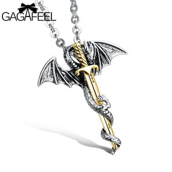 Fashion Gold Stainless Steel Jewelry Dragon Sword Men Punk Pendant Necklace Link Chain Charm Accessory Collar Hombre Gift N937