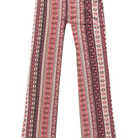 Full Tilt Folklore Girls Flare Pants Burgundy  In Sizes