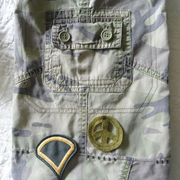 Camouflage Army Patch Purse/Bag Crossover Peace Sign Upcycle Recycle