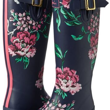 Joules Women's Wellyprint Rain Boot, Navy Floral, 5 M US