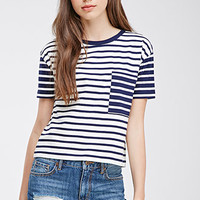 Colorblocked Pocket Striped Tee