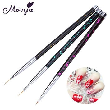 3 Size Polka Dot Metal Handle Nail Art Liner Brush Set French Wide Line Flower Grid Image DIY Drawing Painting Brushes Pen Kit