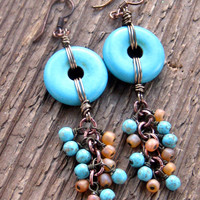 Santa Fe Turquoise Dangle Earrings Bohemian Jewelry