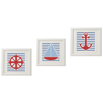 Nautical Cross Stitch pattern modern Anchor Steering Boat Set of 3 Striped Counted Subversive cross stitch pattern  embroidery modern