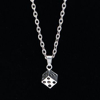 New Arrivals Silver Link Chain Vintage Choker Necklace Fashion Jewelry dice Charm Pendant Necklace Gift For Women Men