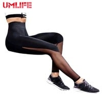 Women High Waist Yoga Pants Mesh Patchwork Leggings New Slim Running Leggings Lady Fitness Workout Pants Sports