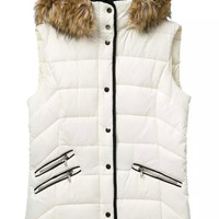 White Slim Puffer Vest with Faux Fur Trim