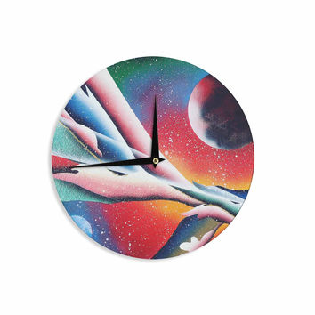 "Infinite Spray Art ""String Theory "" Red Blue Wall Clock"
