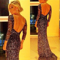 Fashion Women Sexy Long Sleeve Shiny Backless Prom Dress Formal Bridesmaid Gown Dress