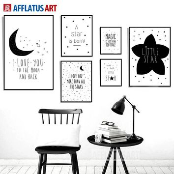 AFFLATUS Black White Moon Star Quotes Nordic Poster Wall Art Print Canvas Painting Wall Pictures Nordic Style Kids Decoration