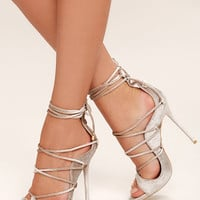 Party Anthem Nude Velvet Lace-Up Heels