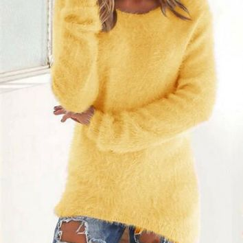 New Women Yellow Plain Irregular V-neck Streetwear Polyester Pullover Sweater