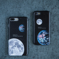 Fashion moon earth Phone Case Cover for Apple iPhone 7 7 Plus 5S 5 SE 6 6S 6 Plus 6S Plus + Nice gift box! LJ161101-007