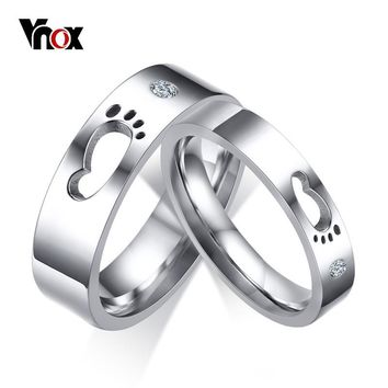 Vnox Cute Baby's Little Footprint Wedding Rings Band For Women Men Stainless Steel Cz Stone Anniversary Gift For New Dad Mom