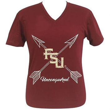 Girlie Girl Preppy FSU Florida State Arrows V-Neck Red T-Shirt