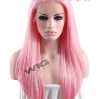 "24"" Long Straight Pink Lace Front Synthetic Wig"