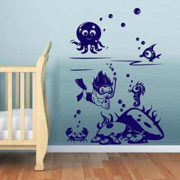 Wall Decal Vinyl Decal Sticker Nursery Kids Baby diver marine ocean sea z540