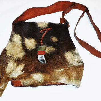 Boho Moroccan Leather Bag with Goat Fur Flap