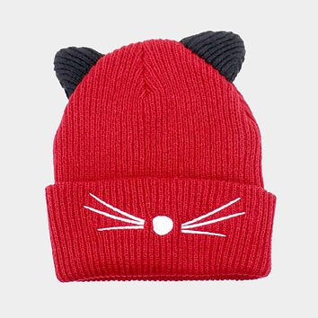 Cat Ear Knit Embroidery Beanie Hat (Click For More Colors)