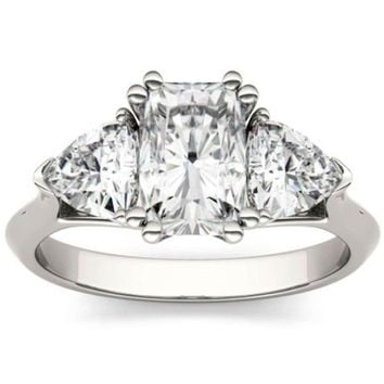 Forever One 2.80Ct Radiant & Trillion Colorless Moissanite Three Stone Engagement Ring