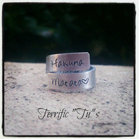 Upgraded Personalized Hand Stamped Wrap Ring Inside by TerrificTus