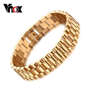 Men's Bracelet 18k Gold Plated 22cm Chunky Chain Bracelets Bangles Stainless Steel Male Jewelry Gift