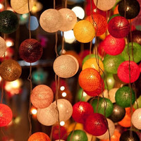 20 x Mix color cotton ball Bali lantern string light patio outdoor decoration deco room bedroom wedding patio party Beach balcony