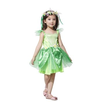 Halloween Costumes for Girl The Wizard of Oz Green Forest Woodland Elf Fairy Costume Tinkerbell Garden Fairy Cosplay Dress