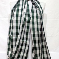 Green and White Men's and Women's Scarf - Green and White Scarf - Green and White Soft Cotton Scarf - KR1411046