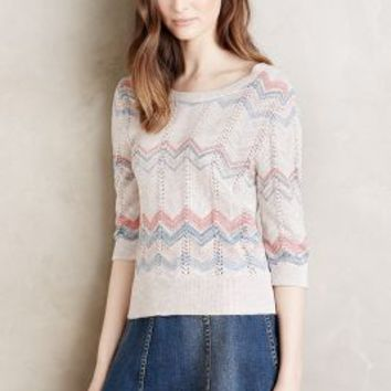 Moth Pointelle Chevron Pullover in Neutral Motif Size:
