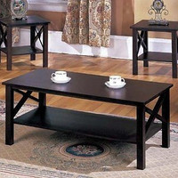 3 Pc Cherry Finish Wood X Style Casual Coffee Table 2 End Tables Occasional
