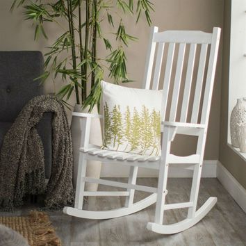 Set of 2 - Indoor-Outdoor Patio Porch White Slat Rocking Chairs