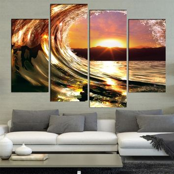Rolling Sea Ocean Wave Sunset Wall Art Canvas Panel Print Framed UNframed