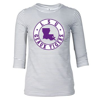 Official NCAA Louisiana State University Tigers LSU GEAUX Tiger Mike Women's Striped Tee